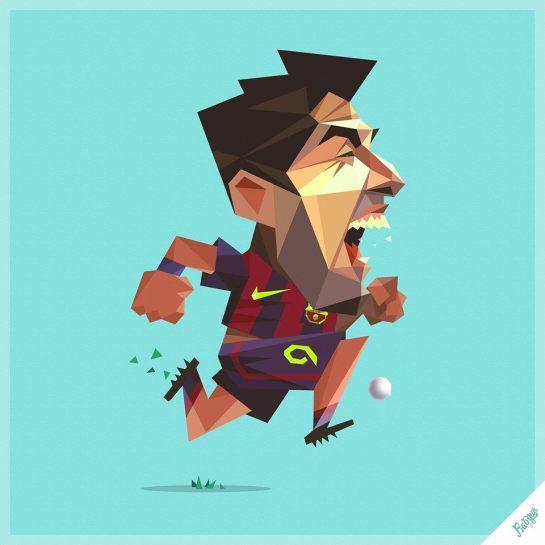 robin gundersen illustration football zlatan suarez