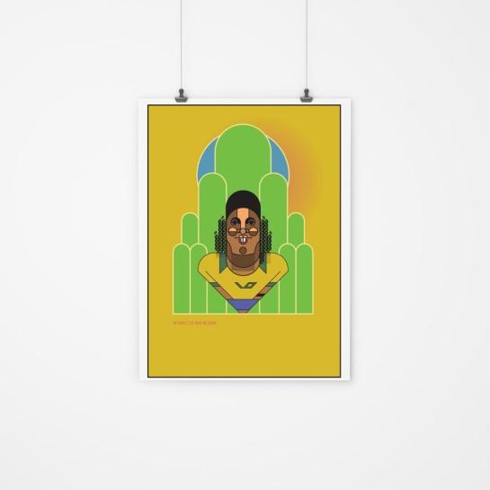 Ronaldinho_by_Marcus_Marritt_framed football design